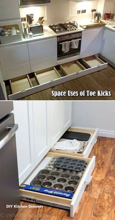 not let the space of toe kicks go wasted, it can be used to build drawers for baking supplies storage.Do not let the space of toe kicks go wasted, it can be used to build drawers for baking supplies storage. Diy Kitchen Storage, Diy Kitchen Cabinets, Kitchen Drawers, Kitchen Cabinet Design, Kitchen Pegboard, Kitchen Counters, Soapstone Kitchen, Baking Storage, Wood Countertops