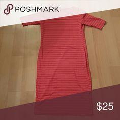 LuLaRoe Julia dress Coral pink stripe, worn once LuLaRoe Dresses