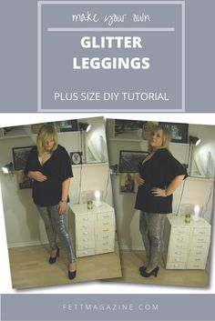 Plus size DIY glitter party leggings