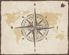 compass: Vintage Nautical Compass. Old World Map on Paper Texture with Torn Border Frame. Wind rose. Background with Ship Logo Silhouette