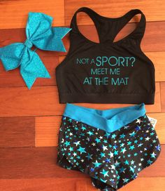 Custom: Cheer Not A Sport Meet me at the Mat! Cheerleading sports bra and shorts. Practice wear. Cheer workout clothes. Cheerleader outfit. #cheerleading #ad