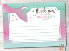 Mermaid Birthday Party Thank You Cards in Pink & Blue – Erin Bradley/Ink Obsession Designs Printable Thank You Cards, Printable Planner Stickers, Pink Girl, Pink Blue, Thank You Card Size, Skate Party, Mermaid Birthday, Card Sizes, Stationery