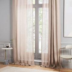 Sheer Belgian Flax Linen Curtain - Dusty Blush