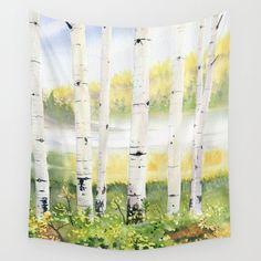 Behind The Birch Trees Wall Hanging Tapestry by Melly Terpening - Small: x Tree Tapestry, Tapestry Wall Hanging, Wall Hangings, Society 6 Tapestry, Tree Wall, Outdoor Walls, Wall Art Decor, Vivid Colors