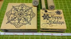 #RubberStamps  5 Wood Mounted Rubber Stamps Christmas Happy Holidays Stars 3 New 2 Used #Assorted #Design