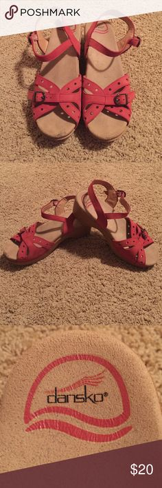 Dankso Strappy Wedges Small scuff on the front toe part, other than that in great shape! Dansko Shoes Wedges