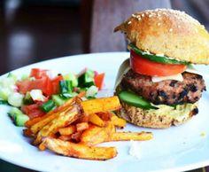 turkey mushroom burger with homemade whole wheat…