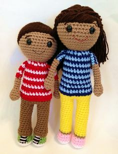 Caleb and Sophia Crochet Dolls 1112 by maryabbie986 on Etsy, $65.00