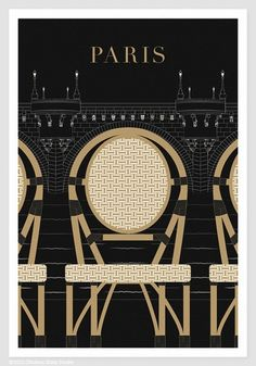 Illustration, Paris Print, Paris, Pont Neuf - 13x19 Art Print, Art Poster, Paris Illustration, Black and Gold Paris Bridge, Chair
