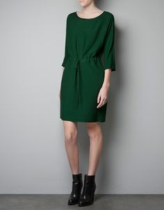 DRESS WITH GATHERED WAIST - Dresses - Woman - ZARA United States