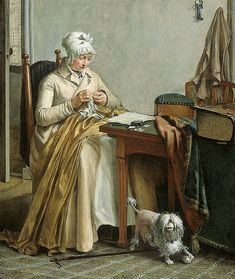 Wybrand Hendriks (Dutch painter, 1744-1831) Interior with Woman Sewing