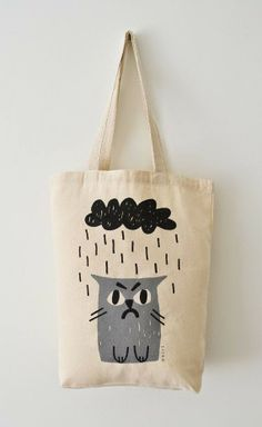 Cat Tote Bag, Hand Screen Printed Grumpy Cat Design in Light Grey & Charcoal, Sad Cat in Rain - Animal Products - Katzen / Cat Sacs Tote Bags, Canvas Tote Bags, Tod Bag, Sad Cat, Diy Sac, Printed Tote Bags, Grumpy Cat, Pusheen Cat, Everyday Bag