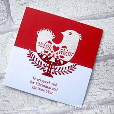Red and white Christmas cards using 'Little Christmas Bird' by Woodware