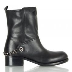 HURRICANES Black Leather Women's Biker Boot