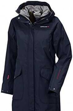 Didriksons Ladies Thelma Coat Navy 38. Waterproof, windproof and breathable. Water Repellent (WR) finish. Longer length 3/4 body cover. Attached adjustable hood. Multiple inner pockets #Sports #OUTDOOR_RECREATION_PRODUCT