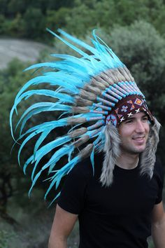 Indian Light Blue / Turquoise Feather Headdress / Warbonnet, by theworldoffeathers. Explore more products on http://theworldoffeathers.etsy.com