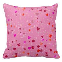 Red and Pink Hearts on Pink Throw Pillow