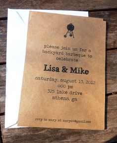Backyard bbq invite by elyellapaperdesigns on Etsy, $50.00  This is my fave, love the simplicity!
