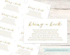 bring a book instead of a card insert printable baby shower DIY white gold glitter gender neutral digital shower games - INSTANT DOWNLOAD