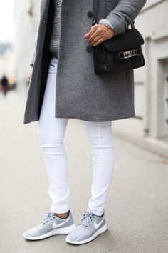 Shades of grey are in this fall and winter, and probably the next. If you changed the shoes, this outfit would have a completely different look. But why change out of some cool light grey Nikes?