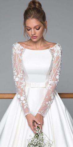 Stunning Long Sleeve Wedding Dresses For Brides ★ long sleeve wedding dresses . Stunning Long Sleeve Wedding Dresses For Brides ★ long sleeve wedding dresses illusion with floral appliques modest evalendel ★ See more: weddingdressesgui. Wedding Dress Trends, Wedding Dress Sleeves, Modest Wedding Dresses, Long Bridesmaid Dresses, Bridal Dresses, Lace Dress, Dresses Dresses, Wedding Gowns, Party Dresses