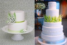 Lily of the valley wedding cakes by Cake Avenue left, image right via Pinterest.