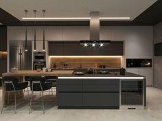 Дом в Норвегии on Behance Modern Kitchen Interiors, Luxury Kitchen Design, Kitchen Room Design, Modern Kitchen Cabinets, Contemporary Kitchen Design, Kitchen Cabinet Design, Luxury Kitchens, Home Decor Kitchen, Interior Design Kitchen