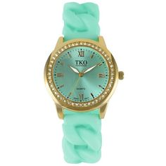TKO Orlogi Women's Crystal Stretch Watch ($48) ❤ liked on Polyvore featuring jewelry, watches, green, quartz movement watches, fake watches, roman numeral watches, imitation jewelry and stretch watches
