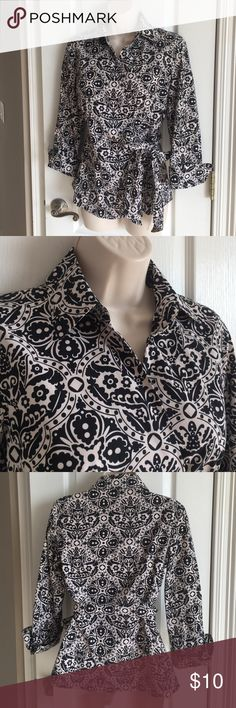Ann Taylor Wrap Shirt Size 4 3/4 sleeves with cuff, true wrap, 97% cotton, 3% spandex, EUC from a non-smoking home. Ann Taylor Tops Blouses