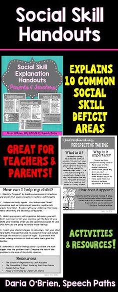 Speech Paths: Social Skill Explanation Handouts. Pinned by SOS Inc. Resources. Follow all our boards at pinterest.com/sostherapy/ for therapy resources.