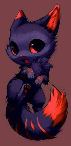 Cute Animal Drawings Kawaii, Cute Cartoon Animals, Anime Animals, Cute Little Animals, Kawaii Drawings, Cute Drawings, Cute Fantasy Creatures, Mythical Creatures Art, Pokemon Mignon