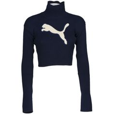Fenty X Puma Cropped Logo Turtleneck Jumper ($165) ❤ liked on Polyvore featuring tops, sweaters, evening blue, blue crop top, ribbed sweater, long sleeve crop sweater, cropped sweaters and crop tops