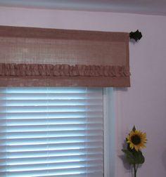 BURLAP Ruffled Valance NATURAL Rustic Curtain by supplierofdreams, $40.00