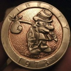 JOEY BLAYLOCK HOBO DOLLAR - HOBO - 1973 CCC EISENHOWER DOLLAR Hobo Nickel, Coins, Carving, Unique, Tactical Gear, Rooms, Wood Carvings, Sculptures, Printmaking