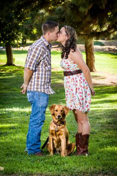 Country engagement pictures with our dog Nessie (golden retriever)
