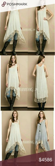 🆕HIGH LOW LACE RUFFLE HEM TUNIC **ARRIVING SOON ** GORGEOUS  SOFT & LIGHT WEIGHT 2 TONE DROP NEEDLE FABRIC TUNIC HIGH LOW TANK WITH LACE RUFFLE HEM. THIS LISTING IS FOR THE OATMEAL COLOR.  SO CUTE TO WEAR ALONE OR LAYER MULTIPLE WAYS. 95% RAYON /5%SPANDEX. MADE IN THE USA . PRICED HIGH FOR A SHIP DISCOUNT & MORE INFO AVA WHEN THESE BEAUTIES ARRIVE Stunning_29  Tops