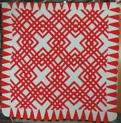 AMAZING Vintage Red & White Carpenter's Square Maze Antique Quilt ~PETAL BORDER!