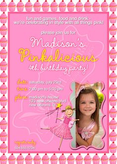 Pinkalicious birthday party invitation