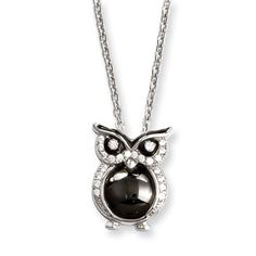 .925 Sterling Silver CZ Owl Pendant Silver Jewelry Available Exclusively at Gemologica.com