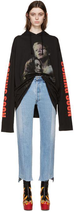 Vetements: Black Oversized Titanic Hooded T-Shirt | SSENSE