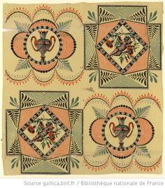 Antique wallpaper with cherubs and vases. 1799 [Manufacture Bon. Papier à motif répétitif. Motif répétitif à deux chemins, en quinconce, alternant un putto et un vase à l'antique] : [papier peint] - 1