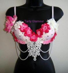 Pink Floral Rave Bra Daisy Bra Festival Rave EDC by TartyGlamour