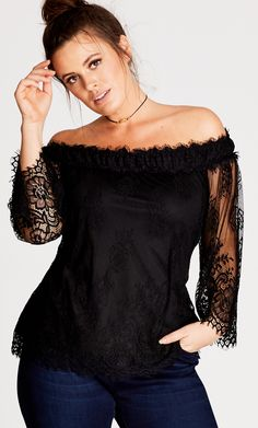 Style By Trend  Miss Saigon City Chic - TOP SOFT LACE - Women s Plus Size e8bda4a0e9