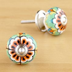 Round Multicolored Floral Ceramic Knobs, Set of 4 | World Market - $15.96