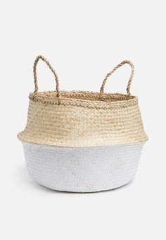 Belly basket two tone white - bigger size Storing Towels, Belly Basket, Black Bar Stools, Leather Wall, Royal Colors, Nature Color Palette, Towel Storage, Floor Decor, Baskets On Wall