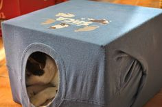 Scrappy Chick Designs: Momma's DIY T-Shirt Cat House~