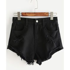 Roll Cuff Ripped Denim Shorts ($6.89) ❤ liked on Polyvore featuring shorts, black, torn shorts, short jean shorts, jean shorts, zipper shorts and low waist denim shorts