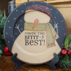 brrrry best snowman plate Snowman Quotes, Snowman Pics, Snowmen Pictures, Snowman Crafts, Primitive Christmas, Christmas Snowman, Christmas Time, Painted Plates, Wooden Plates