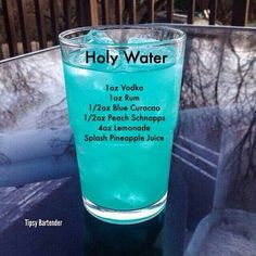 HolyWater cocktail with rum vodka peach schnapps blue curaçao lemonade and a splash of pineapple juice Liquor Drinks, Cocktail Drinks, Vodka Mixed Drinks, Fruity Alcohol Drinks, Vodka Cocktails, Mixed Alcoholic Drinks, Drinks With Malibu Rum, Cherry Vodka Drinks, Fruity Shots
