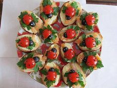 Kids party food - tomato, olive, basil toasts